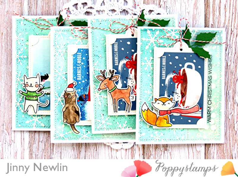 Poppystamps Warm Christmas Wishes Gift Cards - JinnyNewlin
