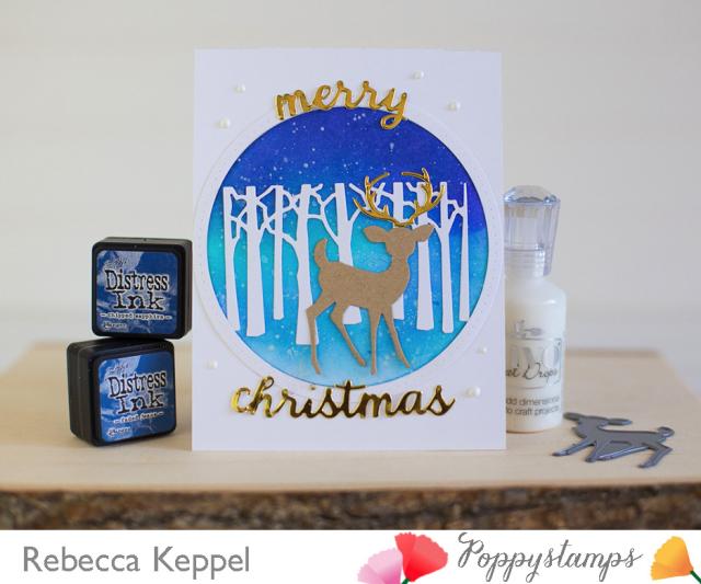 Rebecca keppel poppystamps winter deer trees nightime sky snowy background