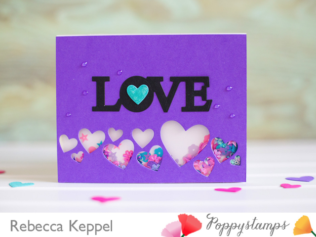 Splendid stitched heart die shaker card