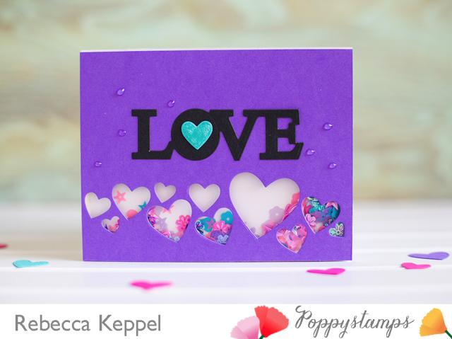 Splendid stitched heart die shaker card