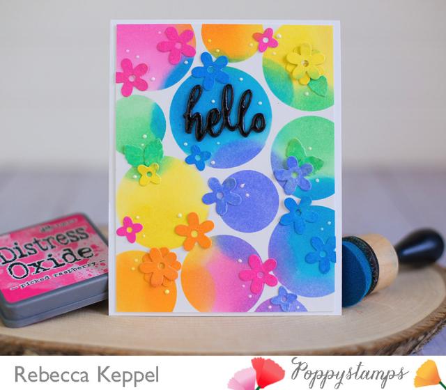 Rebecca keppel poppystamps blooming border die distress oxide ink card 2