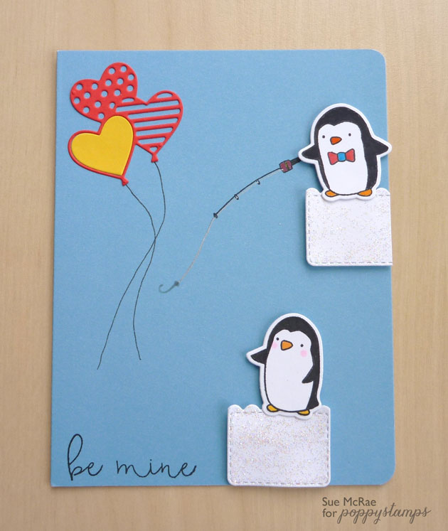 Be Mine Penguins clear stamp set