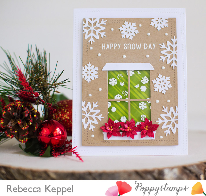 Rebecca keppel poppystamps snowy day window card