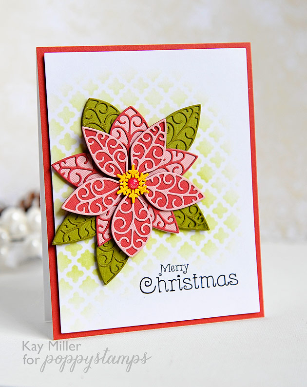 Poppy Stamps Small Luxe Poinsettia Background die set 1061