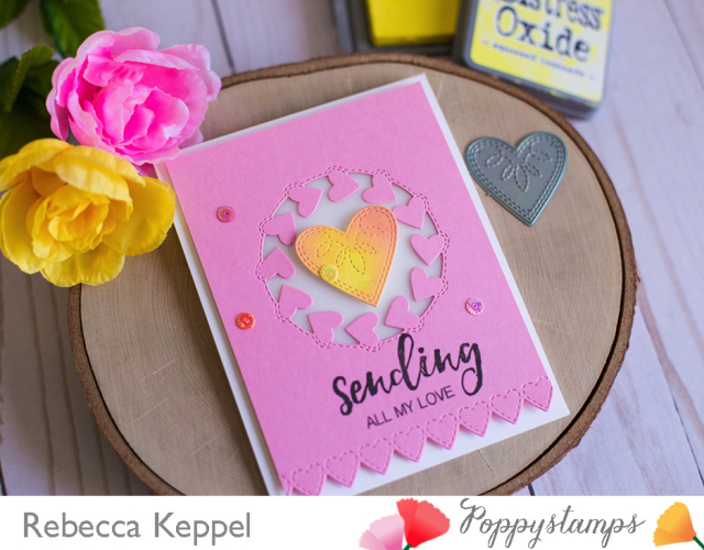Rebecca keppel poppystamps use multiple dies on a card