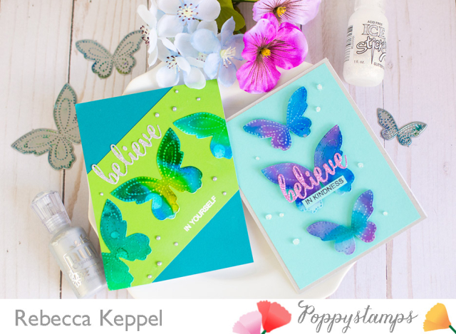 Rebecca keppel poppystamps alcohol ink stitched butterfly trio 1
