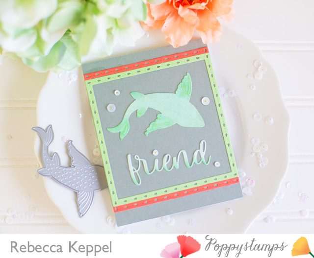Rebecca keppel poppystamps Large Lovely Koi Copic Colored Die Cuts card 3