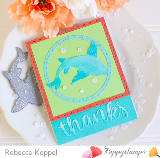 Rebecca keppel poppystamps Large Lovely Koi Copic Colored Die Cuts card 2