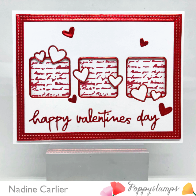 Valenitne Card with Poppystamps by Nadine Carlier