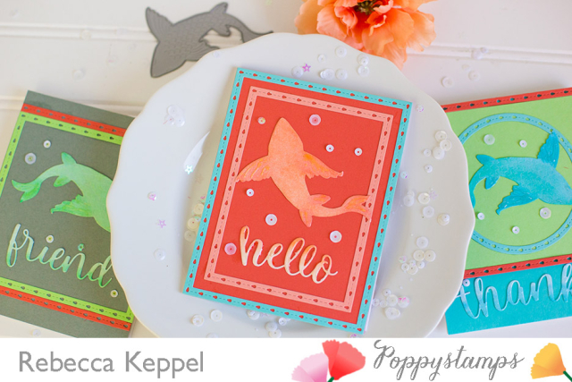 Rebecca keppel poppystamps Large Lovely Koi Copic Colored Die Cuts card 1