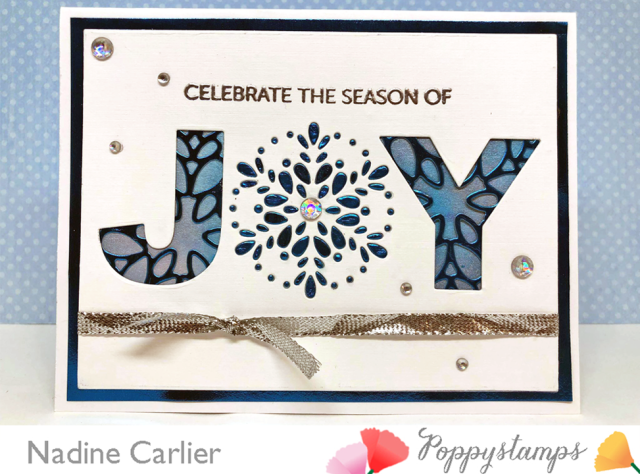 Joy Card with Poppystamps by Nadine Carlier