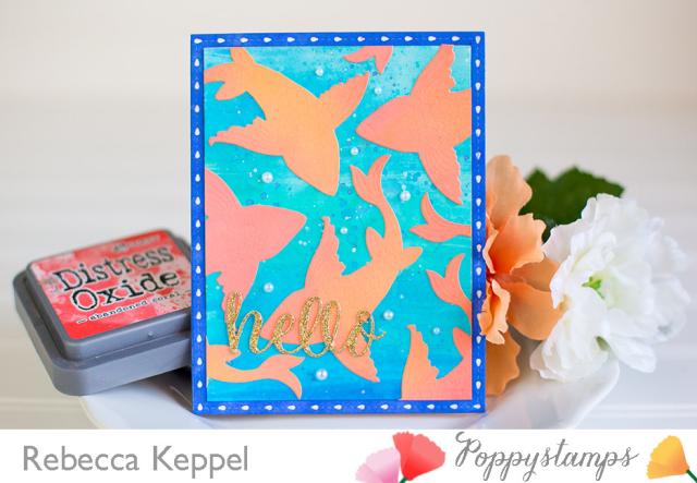 Rebecca keppel poppystamps make a splash challenge large koi die card 1