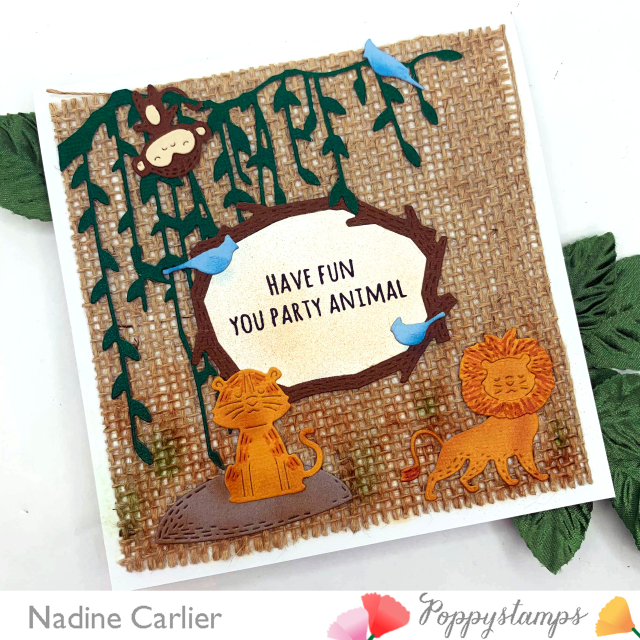Party Animal Card with Poppystamps by Nadine Carlier