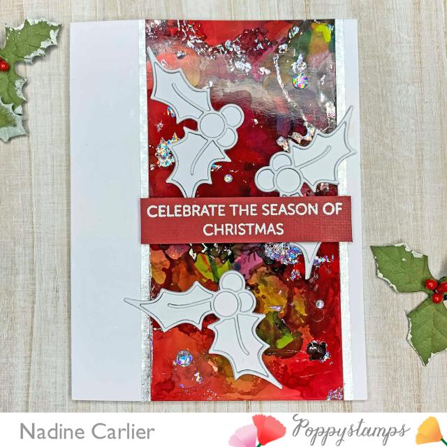 Holly Christmas Card by Nadine Carlier PS