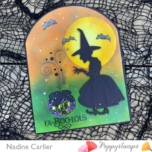 Halloween Witch Shaker Card by Nadine Carlier