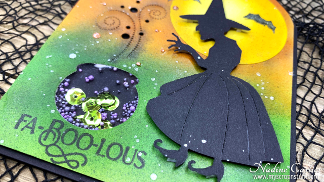 Halloween Witch Shaker Card by Nadine Carlier 1