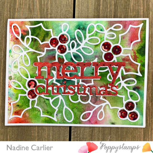 Christmas Card with Poppystamps dies by Nadine Carlier