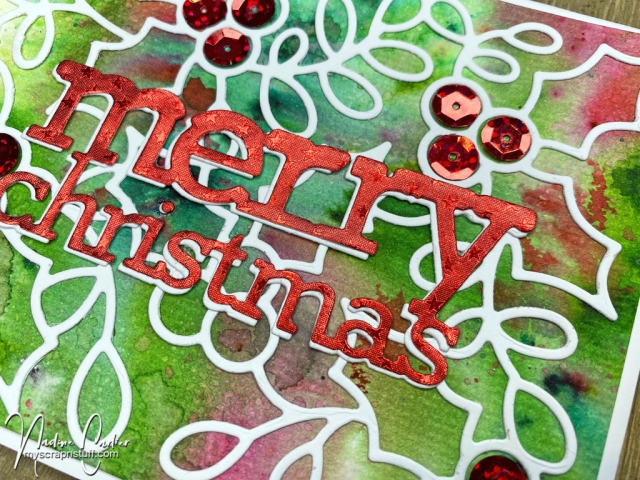 Christmas Card with Poppystamps dies by Nadine Carlier 2