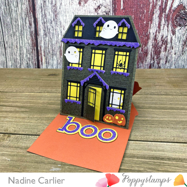 Halloween Haunted House Easel Card by Nadine Carlier