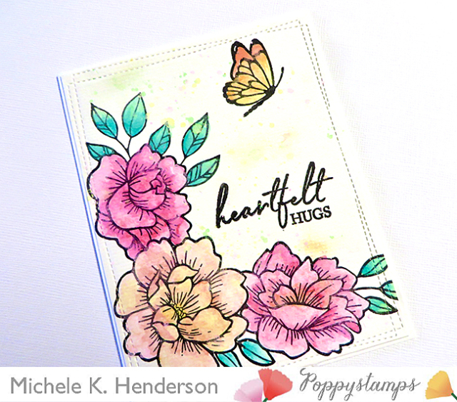 CL5255 Peony Garden Corner clear stamp and die set