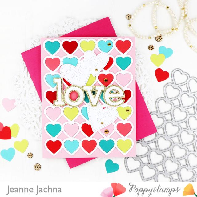 Banded Hearts-Poppystamps-Jeanne Jachna